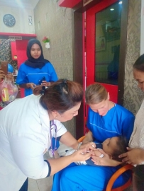 Today Students of Stikes Mitra Husada Medan and Evangelische Hochshule Berlin, Germany on student exchange program has doing activity to giving vitamin A supplementation for children's and Ante Natal Care for pregnant woman's in Clinics Vera and Clin