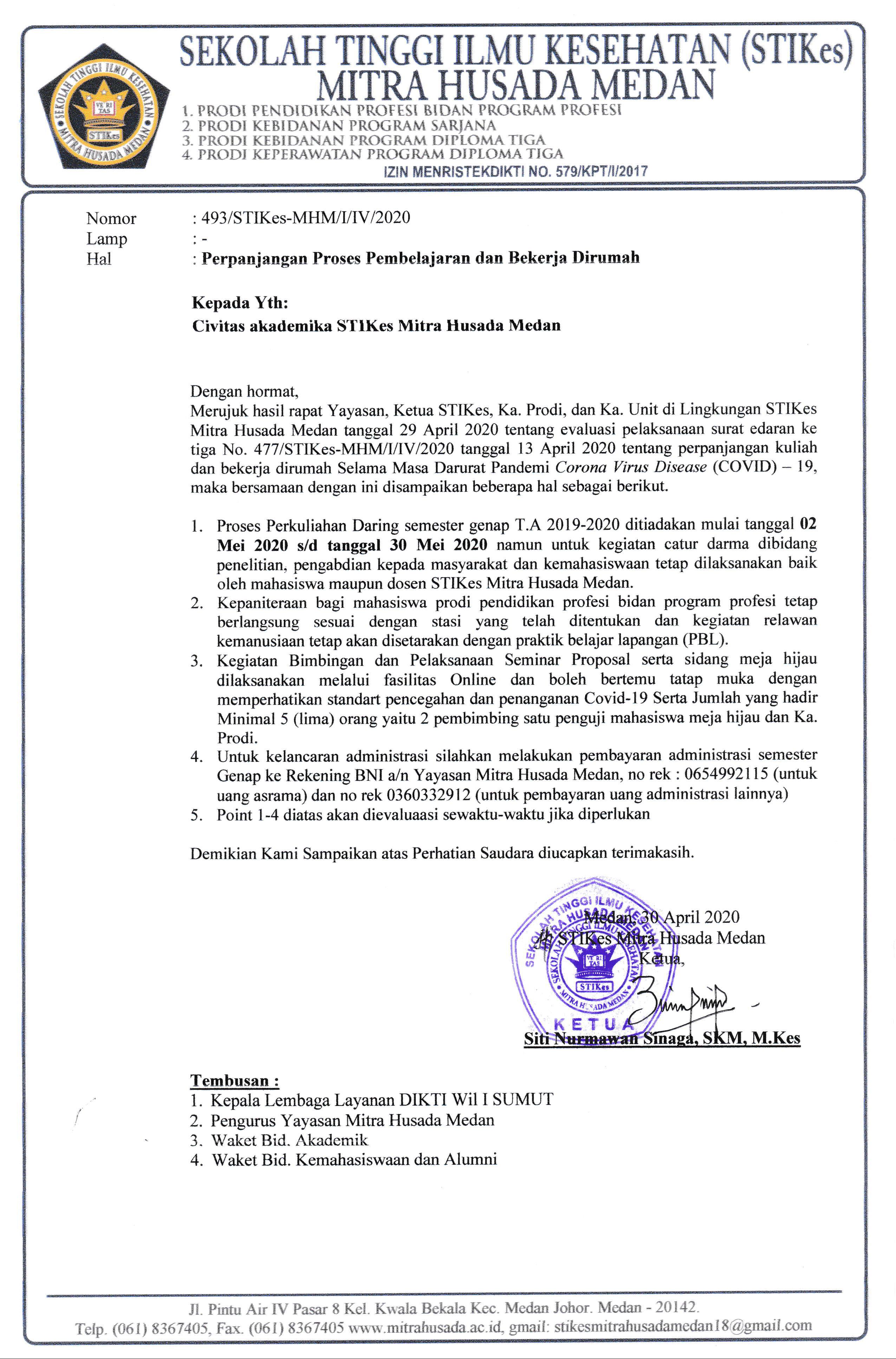Surat Edaran Tentang Perpanjangan Proses Pembelajaran dan Bekerja Dirumah Selama Masa Darurat Pandemi Covid-19