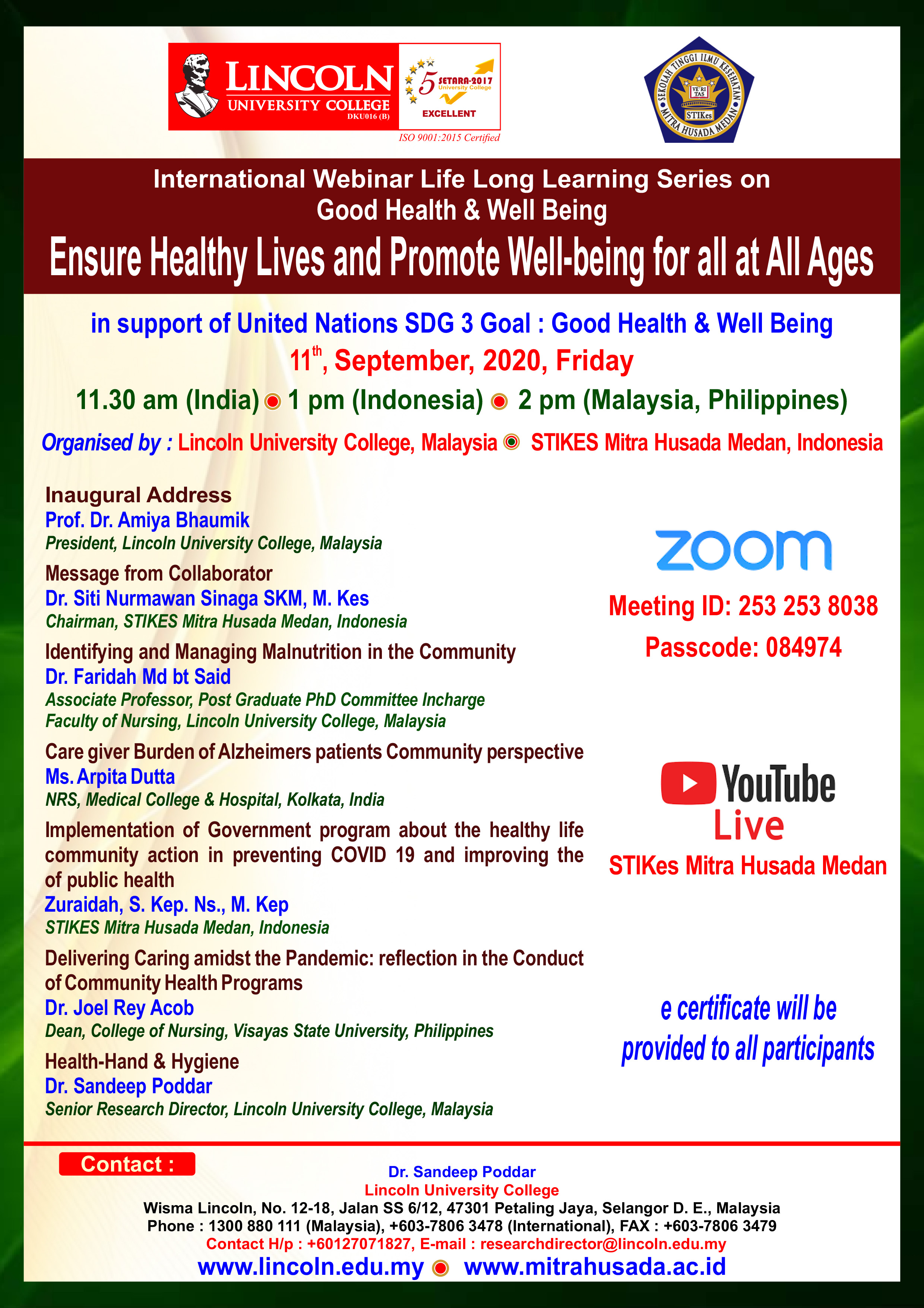 [LIVE] International Webinar Life Long Learning Series on Good Health & Well Being