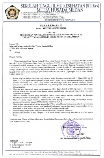 Surat Edaran Tentang Pencegahan Penyebaran Corona Virus Disaese 19 (Covid-19) pada Civitas Akademika STIKes Mitra Husada Medan