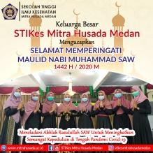Keluarga Besar STIKes MITRA HUSADA MEDAN Mengucapkan Selamat Memperingati MAULID NABI MUHAMMAD SAW 1442 H / 2020 M