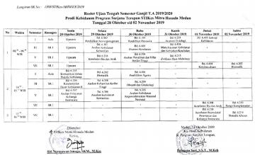 Jadwal Ujian Tengah Semester Ganjil T.A 2019/2020 STIKes Mitra Husada Medan
