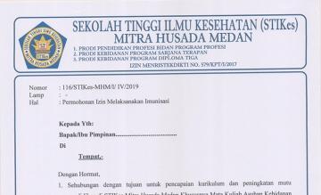 Form Surat Izin Pelaksanaan Imunisasi Prodi Sarjana Terapan Semester IV