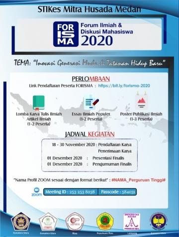 Forum Ilmiah Dan Diskusi Mahasiswa (FORISMA) Tingkat Nasional 2020