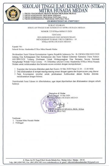 Surat Edaran STIKes Mitra Husada Medan tentang Doa Kebangsaan dan Kemanusiaan menghadapi wabah Virus Corona-19