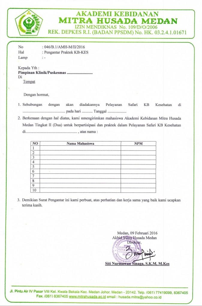 Surat Pengantar KBKes Mitra